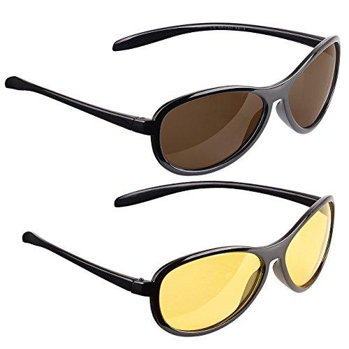 PEARL Nachsichtbrille: 2er-Set Sonnen- & Nachtsichtbrille, kontrastverstärkend, polarisierend (Sonnenbrille polarisierend)