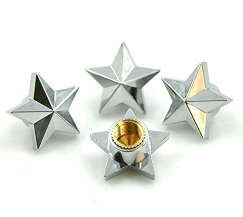 Silver Star Alloy Car Wheel Tire Tyre Valve Dust Caps Covers Tire Set of 4 Silver