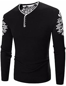 HDYS Sello de Hombres sudadera sudadera de tejer suéter de otoño e invierno, untar ,negro,XXL