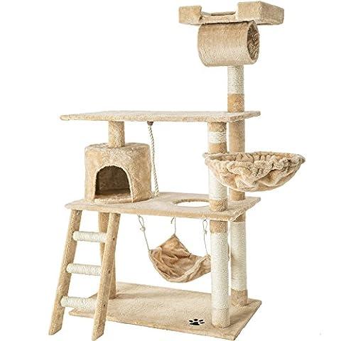 TecTake Kratzbaum Katzenkratzbaum mit vielen Kuschel- und Spielmöglichkeiten | 141cm hoch | extra breit | beige