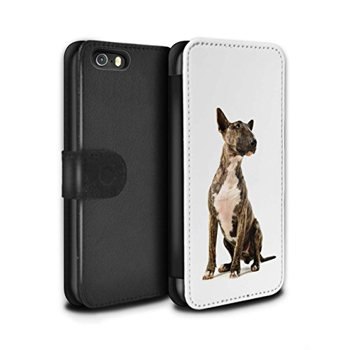 STUFF4 PU-Leder Hülle/Case/Tasche/Cover für Apple iPhone SE / Bull Terrier Muster / Hund/Hunde Kollektion (Bull Terrier Phone Case)