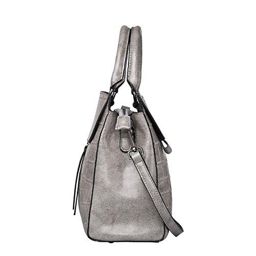 ZPFME Frauen Handtasche Mode Stein Muster Schultertasche Mädchen Party Retro Damen Mode Handtasche Messenger Bag Grey