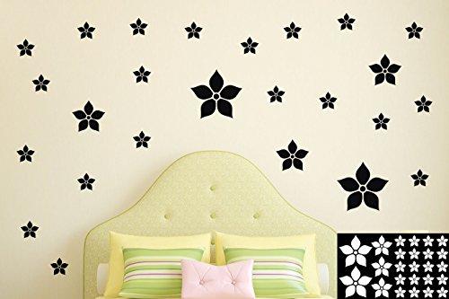 Kleb-drauf® - 25 Blumen/Schwarz - glänzend - Aufkleber zur Dekoration von Wänden, Glas, Fliesen und allen anderen glatten Oberflächen im Innenbereich; aus 19 Farben wählbar; in matt oder glänzend (Schwarz-wand-aufkleber)