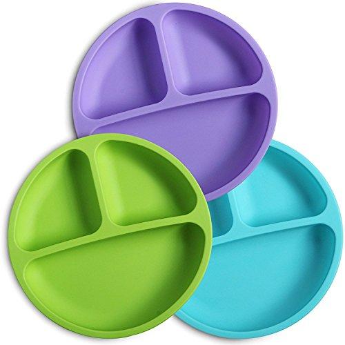 Silikon-Teller für Kleinkinder, 3 Stück (lila, grün und blau) - spülmaschinen- und mikrowellenfest - weich, rutschfest und bruchfest - FDA/LFGB zertifiziertes Silikon - ideal für Babys und Kleinkinder