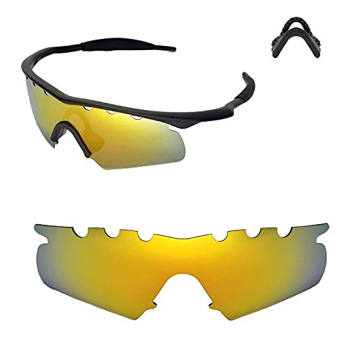 Walleva Entlüftete Ersatzlinsen oder Linsen mit schwarzem Nasenpolster für Oakley M Frame Hybrid Sonnenbrille - 21 Optionen (24K Gold Mirror Coated - Polarisiert + Nasenpolster)