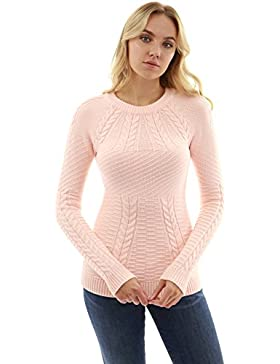 PattyBoutik Mujer Crewneck Raglan Cable suéter de Punto