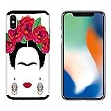 Generico Coque iPhone X Housse Apple iPhone X Frida Kahlo avec Fond Blanc/Coque Imprimer Aussi sur Les cotes/Case Anti-Derapant Anti-Derapant Anti-Rayures Antichoc Protecteur Rigide