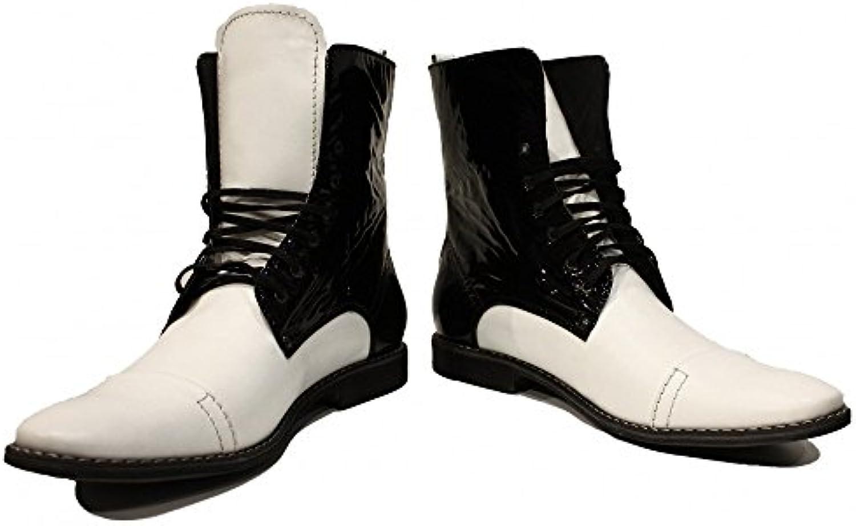 PeppeShoes Modello Troopero   Handgemachtes Italienisch Leder Herren Weiß Hohe Stiefel   Rindsleder Weiches Leder