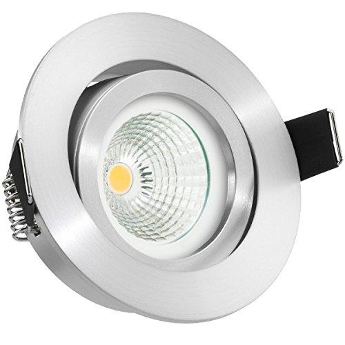 LED Einbaustrahler Set EXTRA FLACH (35mm) in Aluminium matt mit LED Markenleuchtmittel von LEDANDO - 6W DIMMBAR - 2.700 Kelvin warmweiss - Ra > 90 - 60° Abstrahlwinkel - schwenkbar - 35W Ersatz - COB LED Spot 6 Watt