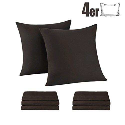 Braun Mikrofaser Stoff (Kissenbezug Kissenhülle Kopfkissenbezug Pillowcase, [4er Set] Kissenbezüge100% Mikrofaser, 80 x 80 cm Bettkissenbezug (4er 80 x 80 cm, braun))