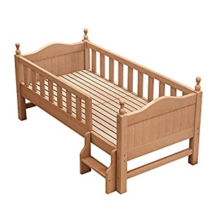 VBARV Children's solid wood bed-baby single bed with guardrail, wide bed with natural pine, durable,Suitable for children aged 0-12   1