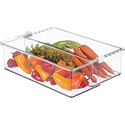 MetroDecor mDesign boîte de Rangement Extensible pour Cuisine ou frigo – Grande étagère de Cuisine avec 3 étages pour Aliments – boîte frigo en Plastique sans BPA – Transparent