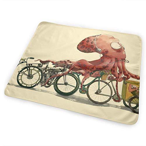 Kotdeqay Tragbare Wickelauflage für Babywindel, saugfähig, waschbarOctopus Selling Ice Cream Illustration(65x80cm)