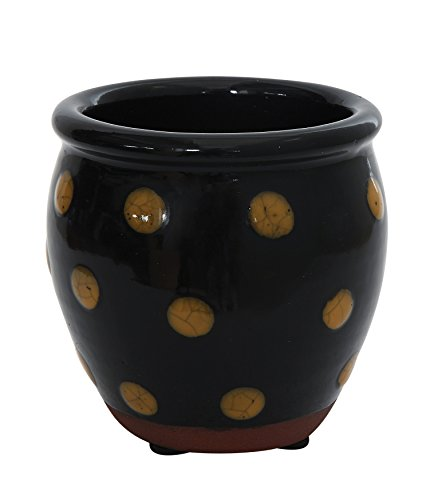 creative-co-op-da6934-small-black-decorative-hand-painted-terra-cotta-crock-with-polka-dots