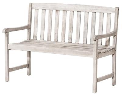 Siena Garden 800276 Bank Cortina, Akazienholz, 2-sitzig, white washed, 117 x 57 x 86 cm