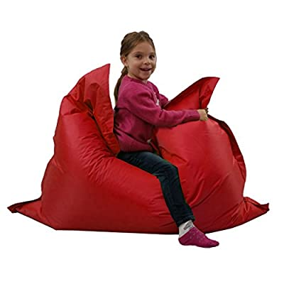 Kids BeanBag Large 6-Way Garden Lounger - GIANT Childrens Bean Bags Outdoor Floor Cushion RED - 100% Water Resistant