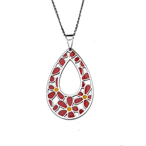 Kiara Schmuck Sterling Silber Hand emailliert rhodiniert Pear Drop mit Blume Grenze Anhänger an verstellbarer 40,6cm 18