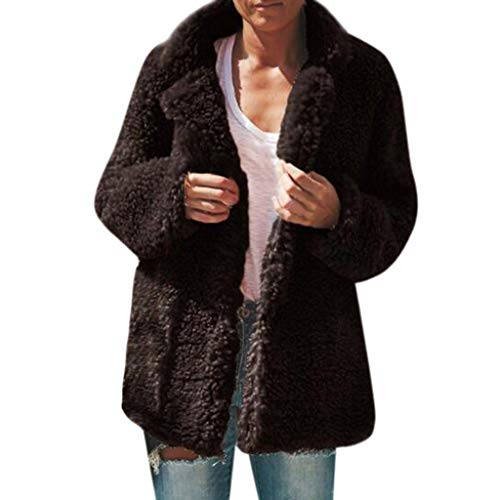 Ashui Damen Wintermantel Wollmantel Steppjacke Plüschmantel Pelzmantel Teddy-Fleece Mantel Fleecejacke Warm Winter-Jacke Revers Parka Outwear Einfarbige Strickjacke Cardigan Wolljacke -