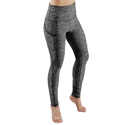 Yvelands Damen Yoga Pants High Waist Out Pocket Tummy Control Workout Running 4 Way Stretch Sport ()