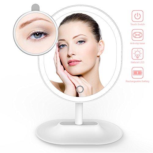 Espejo de Maquillaje, THZY Ultra Brillante Recargable Espejo Cosmético de Mesa con Luz LED Dimmable Touch Switch y Aumento de 5x