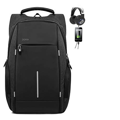 [S] YCA Premium Laptop Notebook Herren Rucksack mit Schloss 15.6 Zoll Fashion Rucksack USB und Kopfhörer-Anschluss wasserdicht groß Daypack Männer Schule Sport Outdoor Freizeit Reise Arbeit