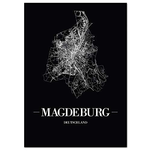 JUNIWORDS Stadtposter, Magdeburg, Wähle eine Größe, 40 x 60 cm, Poster, Schrift A, Schwarz