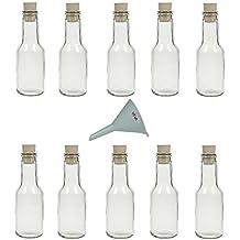 Viva-Haushaltswaren - Juego de botellas de cristal pequeñas (con tapón de corcho 10 unidades 150 ml rellenables incluye embudo de 7 cm de diámetro)