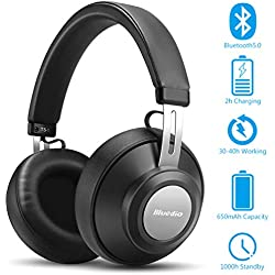 Casque Bluetooth sans Fil avec Réduction de Bruit Active, Jusqu'à 40 Heures, Casque Stéréo sans Fil Hi-FI, Casque Bluetooth 5.0 pour Le Sport, Compatible avec Tous Les appareils iOS et Android, Noir