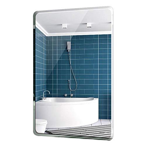 XGGYO Spiegel Badezimmer, Wandspiegel Abgerundeter, zerknitterter Kosmetikspiegel mit Wandbefestigungsbeschlägen für den Badezimmerwaschraum / 500 mm x 700 mm - Nickel Make-up-spiegel Gebürstetem