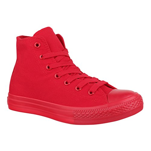 Pink High-top-sneaker (Elara Unisex Sneaker | Damen Herren | High Top | Chunkyrayan ZY9031/33-12 Red-41)