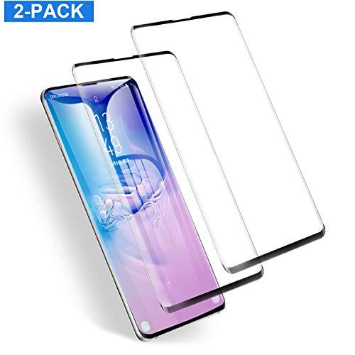 HUAYT HD Clear Galaxy S10 Displayschutzfolie [2er-Pack] 3D Full Curved Tempered Glass [Anti-Bubble[9H Härtegrad] [Anti-Kratzer] Displayschutzfolie kompatibel mit Samsung Galaxy S10 schwarz -