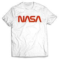 Men's Retro Vintage NASA Worm Logo Premium Soft T-Shirt (White) (Medium)
