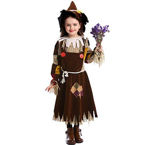 CJJC Mädchen-Vogelscheuchen-Drama-Bühnenkostüme, kreative Halloween-Hexenkostüme mit Quaste und Hut für Festival-Party-Schulleistungs-Gebrauch - Eine Frau Vogelscheuche Kostüm