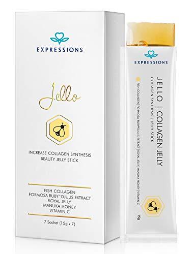 EXPRESSIONS Tägliche Essbare Kollagenpeptide Jelly Supplement Vitamin C Bleaching Verstärkt Natürliche Haut Wachstum Elastizität und Revitalisierung des Hautwachstums (Manuka Honig) Anti-aging(15g*7)