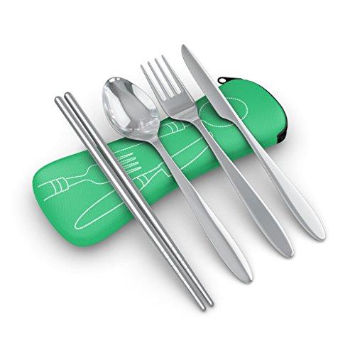 Besteck-Set, enthält Messer, Gabel, Löffel, Essstäbchen, Edelstahl, geringes Gewicht, mit Neopren-Hülle, Campingbesteck, Reisebesteck, 4-teilig ... (grun)