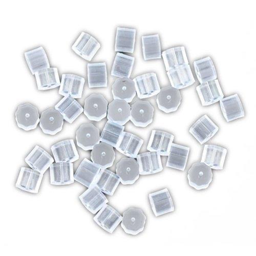 Bacabella 11293 Ohrstopper Plastik weiß Zylinder 3mm x 3mm (50 Stück) als Verschluss/Stopper/Sicherung für Ohrringe