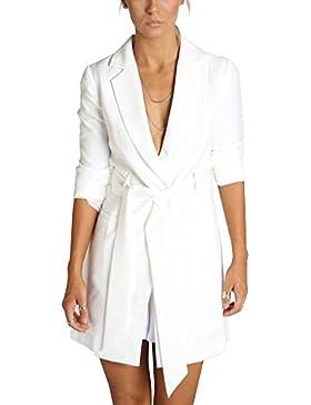 Simplee Apparel Appare Women 's 3 / Sleeve Slim Fit solapa larga Suit Blazer chaqueta blanco con cinturón
