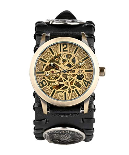 YISUYA Punk automático Esqueleto mecánico Lobo patrón de Reloj de Cuero para Hombres, Reloj de Pulsera de Cuerda Resistente al Agua a Prueba de Agua
