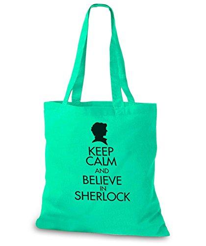 StyloBags Jutebeutel / Tasche Keep Calm and Believe in Sherlock Mint