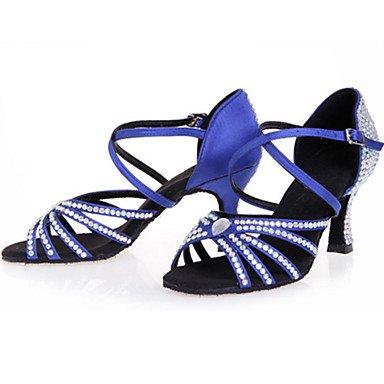 XIAMUO Anpassbare Damen Tanz Schuhe Satin Satin Latin Heels entzündete Ferse Praxis Anfänger Indoor Performance Schwarz Blau Braun Rot Schwarz