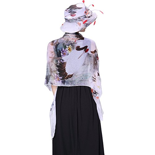 June's young Chapeau avec Echarpe en Silk Femmes Style à Impression chinois Elégante avec Fleurs Casquette de Soirée Cérémonie Eglise Chapeau et Echarpe:Noir&Blanc
