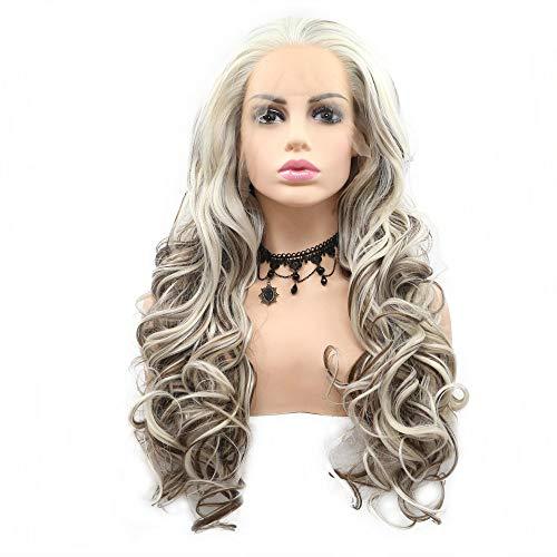 Perücke, natürliche Blonde, mit braunen Strähnen, synthetische Spitze, vorne, für Damen, Cosplay, täglicher Gebrauch, Make-up, Reisen, gewelltes Haar
