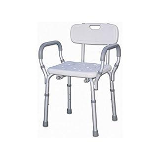 41VEUI gYQL. SS324  - Silla de ducha con respaldo y reposabrazos, silla de bañera, altura regulable