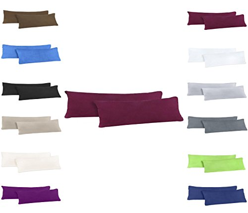 Jersey Kissenbezug 40x145 cm für Seitenschläferkissen im Doppelpack 100% sanforisierter Baumwolle YKK Reissverschluss, 2er Pack Kissenbezüge Bordeaux