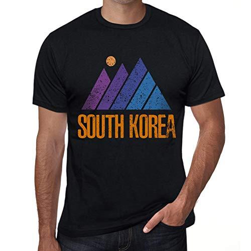 One in the City Hombre Camiseta Vintage T-Shirt Gráfico Mountain South Korea Negro Profundo