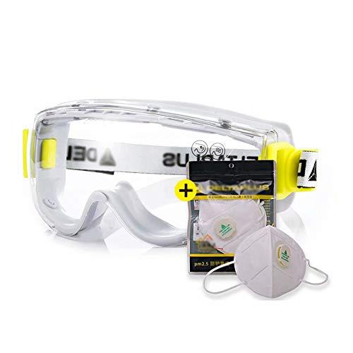 WEIFAN Schutzbrille, Windschutzscheibe für Männer und Frauen, Anti-Schock- / Anti-Fog- / Anti-Spritz- / Anti-Kratz- / UV-Schutz (A2 + Mundschutz x3)