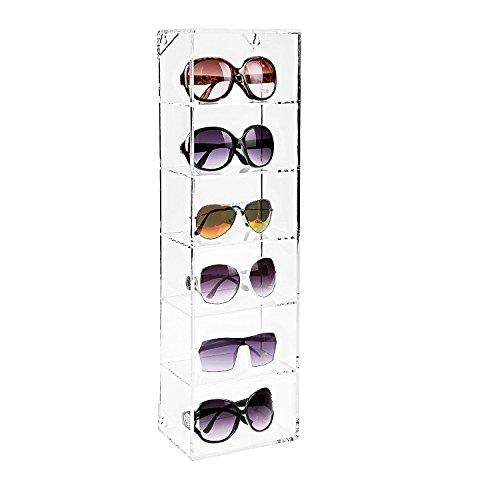 MyGift Modern Acryl klar Wand montiert Lagerung Organizer Rack/6Regal Sonnenbrille Eyewear Display Fall