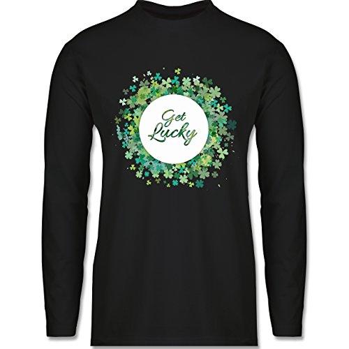 Festival - Get lucky Kleeblatt Glück St. Patrick's Day - Longsleeve / langärmeliges T-Shirt für Herren Schwarz