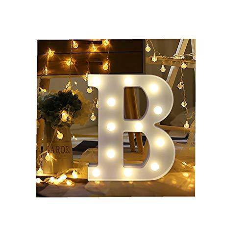 ODJOY-FAN 26 Englisch Brief Licht LED Letter Light Alphabet LED Beleuchtung Licht Oben Weiß Kunststoff Briefe Stehen Hängend A-M Wohnaccessoires Lichter Zubehör (B,1 PC) (Briefe Große Alphabet)