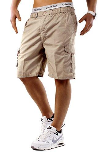 Max Men Herren Cargo Shorts Basic Bermuda Capri Hose Walkshort H748,Beige,M (Walkshorts Shorts)